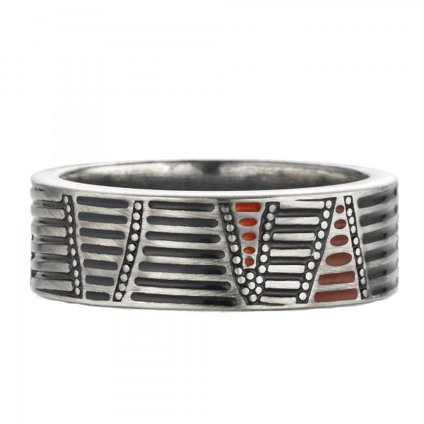 cai Ring 925/- Sterling Silber oxidiert Australien