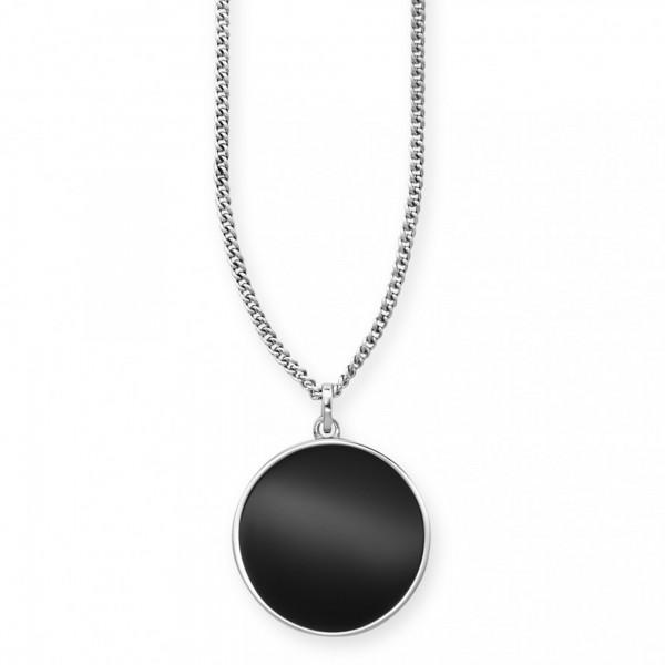 cai Anhänger mit Kette 925/- Sterling Silber rhodiniert Onyx