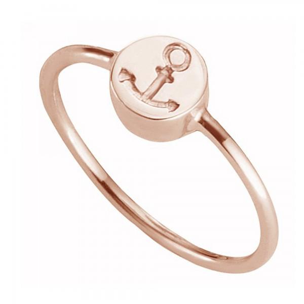 cai Ring 925/- Sterling Silber rotvergoldet Anker